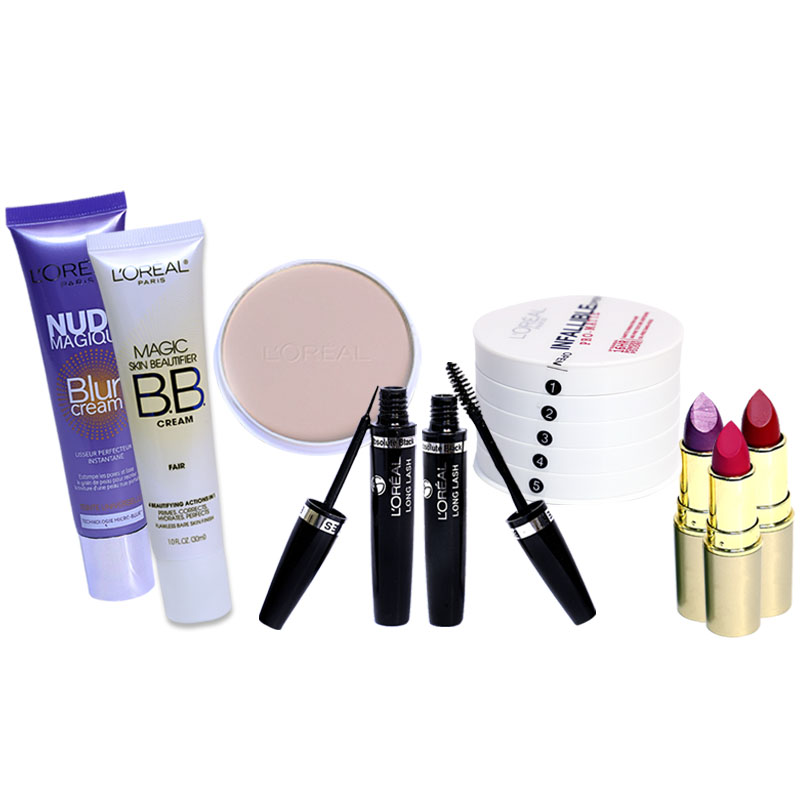 Loreal Paris Pack Of 8: 5in1 Infallible Pro Matte Foundation + Magic Skin Beautifier BB Cream + Nude Magique Blur Cream + Absolute Black Long Lash Mascara + Absolute Black Long Lash Eye Liner + 3 Loreal Lipsticks