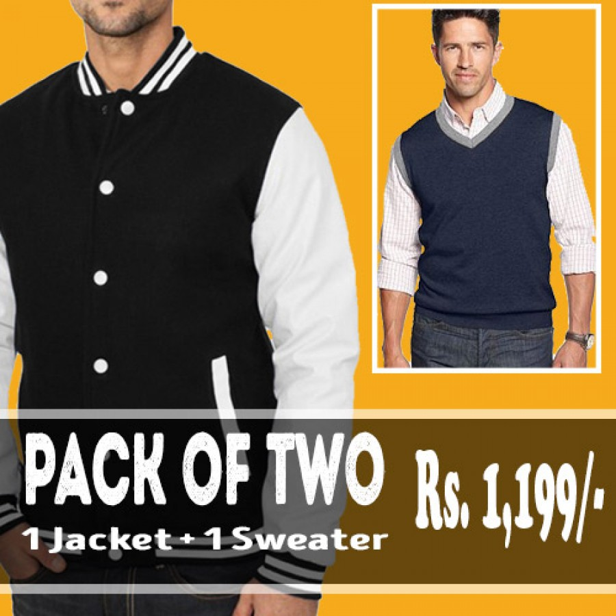 Pack of 2 (1 Baseball Jacket + 1 Sleeveless Sweater)