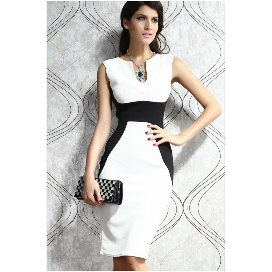Ladies Fashion Clothing Sleeveless Slim Patchwork Printed Dress