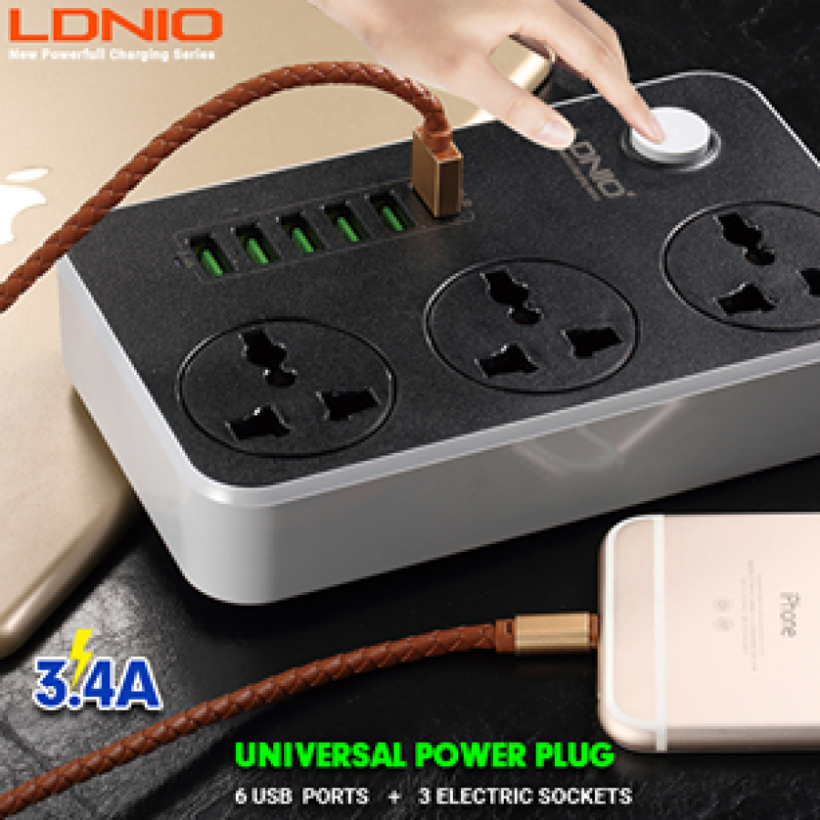 LDNIO 5V 3.4A Desktop 3 Power Socket 6 USB Port 5.24ft/1.6m EU Plug Charging Socket
