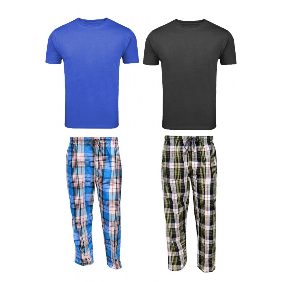 2 Checkered Pajamas - 2 Round Neck T Shirts
