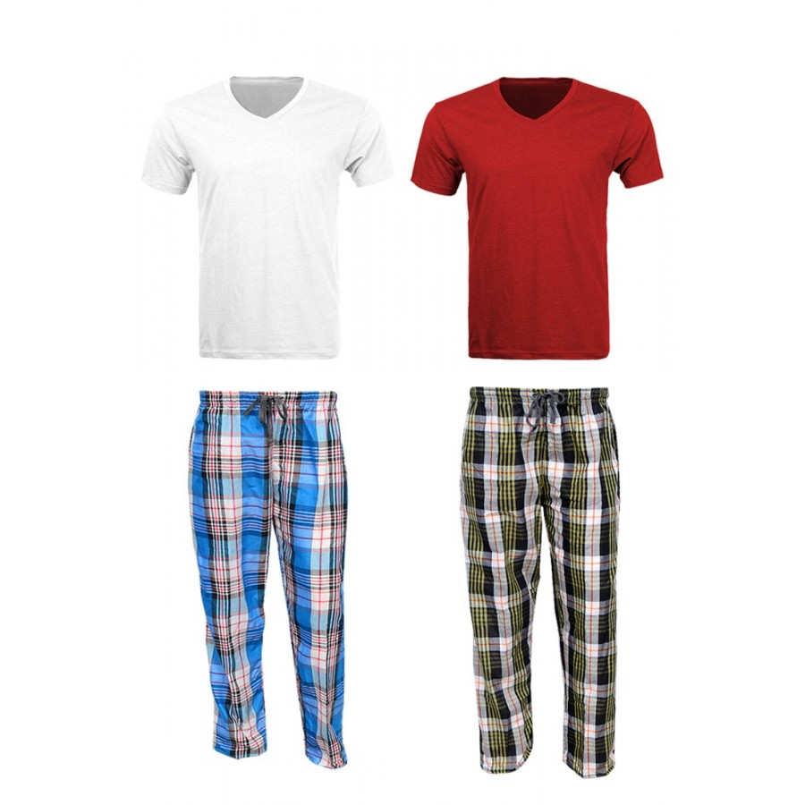 2 Checkered Pajamas - 2 V Neck T Shirts