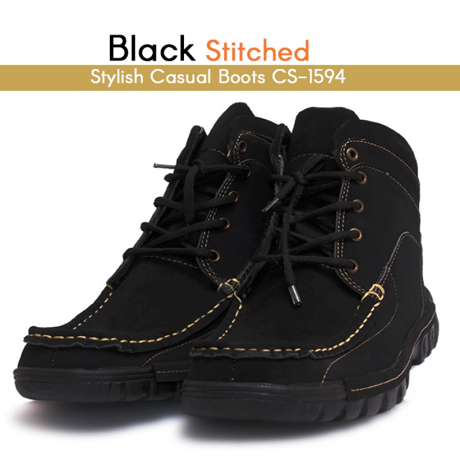 Black Stitched Stylish Casual Boots CS-1594