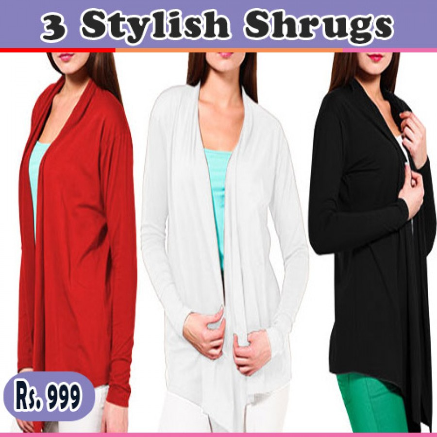 Pack of 3 Ladies Shrugs