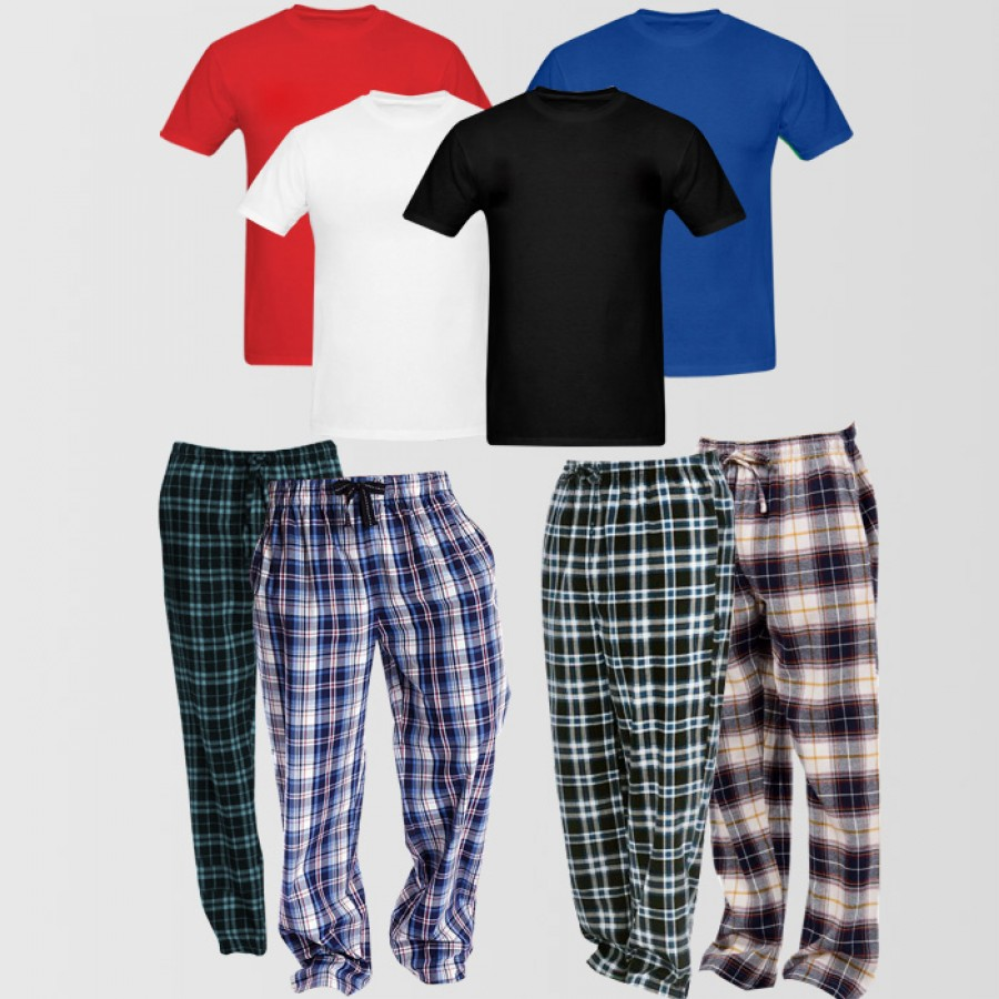 4 Checkered Pajamas - 4 Round Neck T Shirts