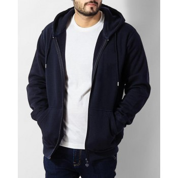Elegant Navy Blue Full Sleeves Zipper Hoodie
