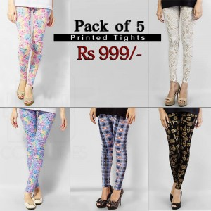 Pack of 5 Printed Tights