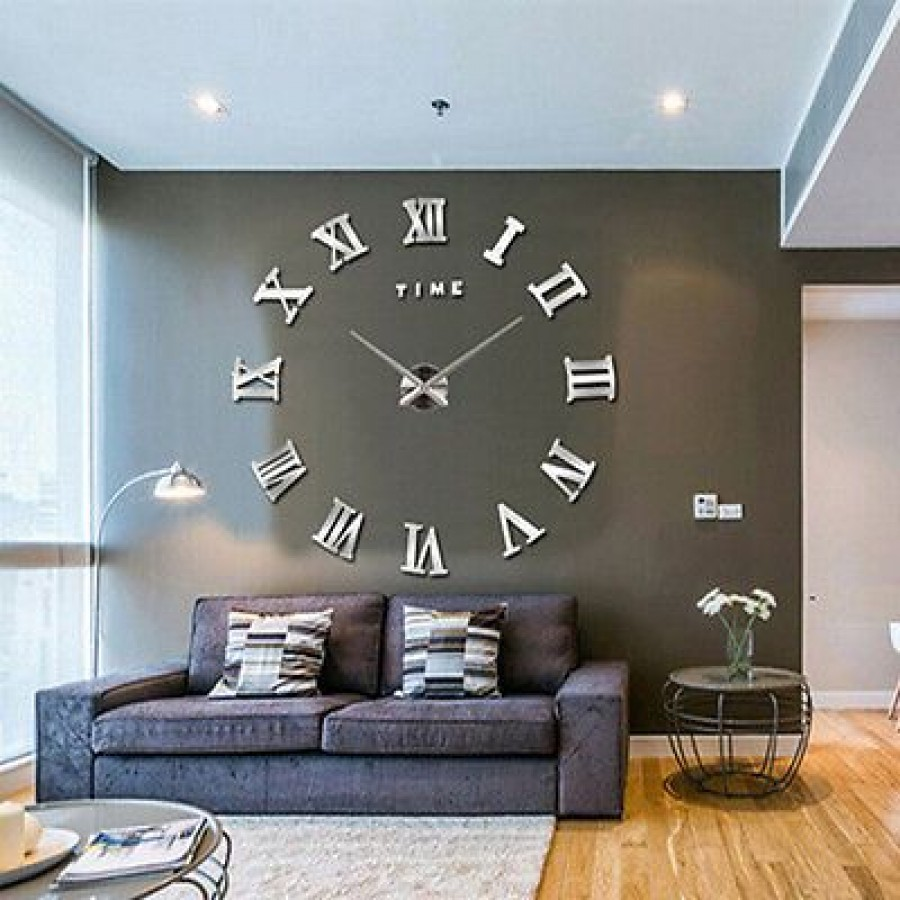 Modern Large 3D Wall Clock For Decoration (Roman Style)