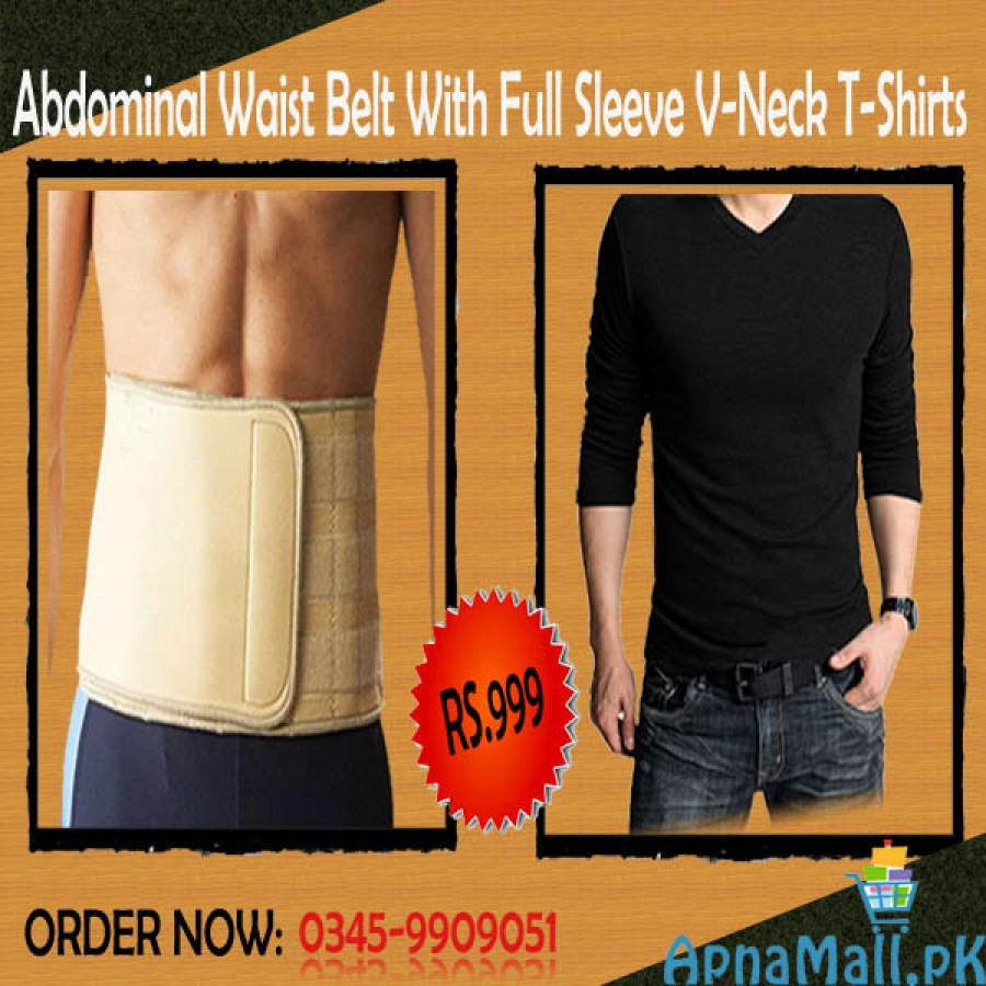 V-Neck Full Sleeves T Shirt with Abdominal Waist Belt