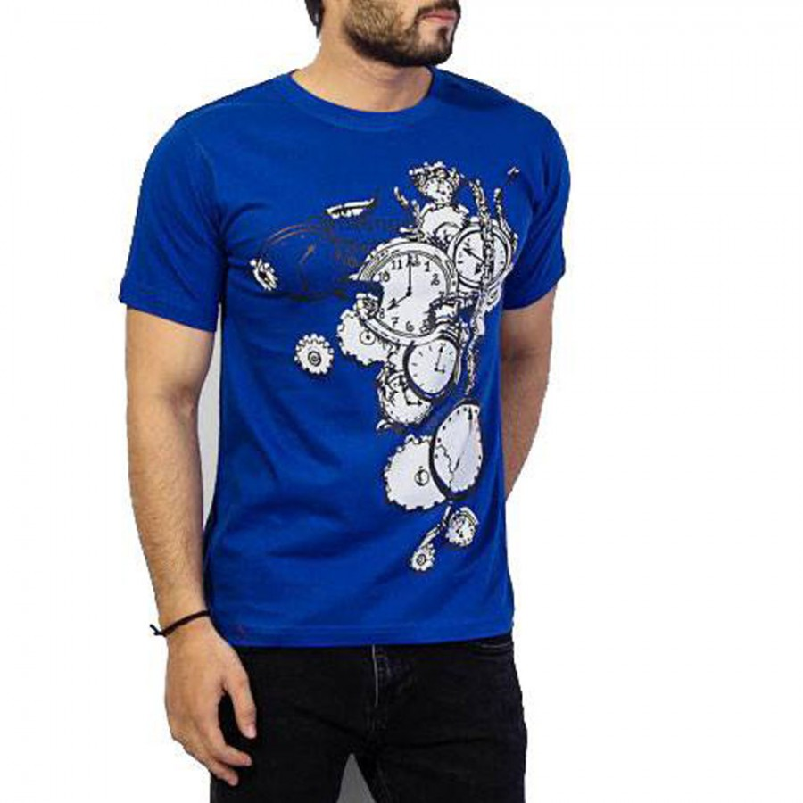Blue Clock Printed T-Shirt