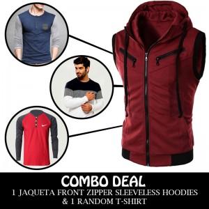 Combo Deal 1 Jaqueta Front Zipper Sleeveless Hoodies And 1 Random T-shirt