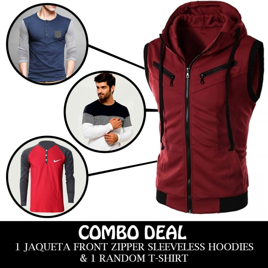 Combo Deal 1 Jaqueta Front Zipper Sleeveless Hoodies And 1 Random T-shirt