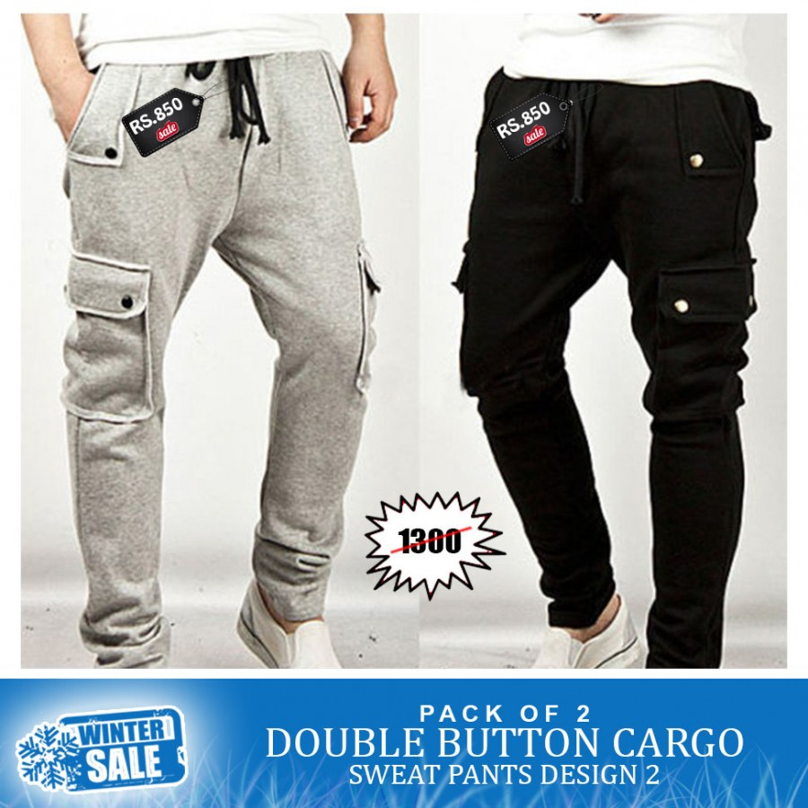 Pack of 2 Double Button Cargo Sweatpants Winter Sale