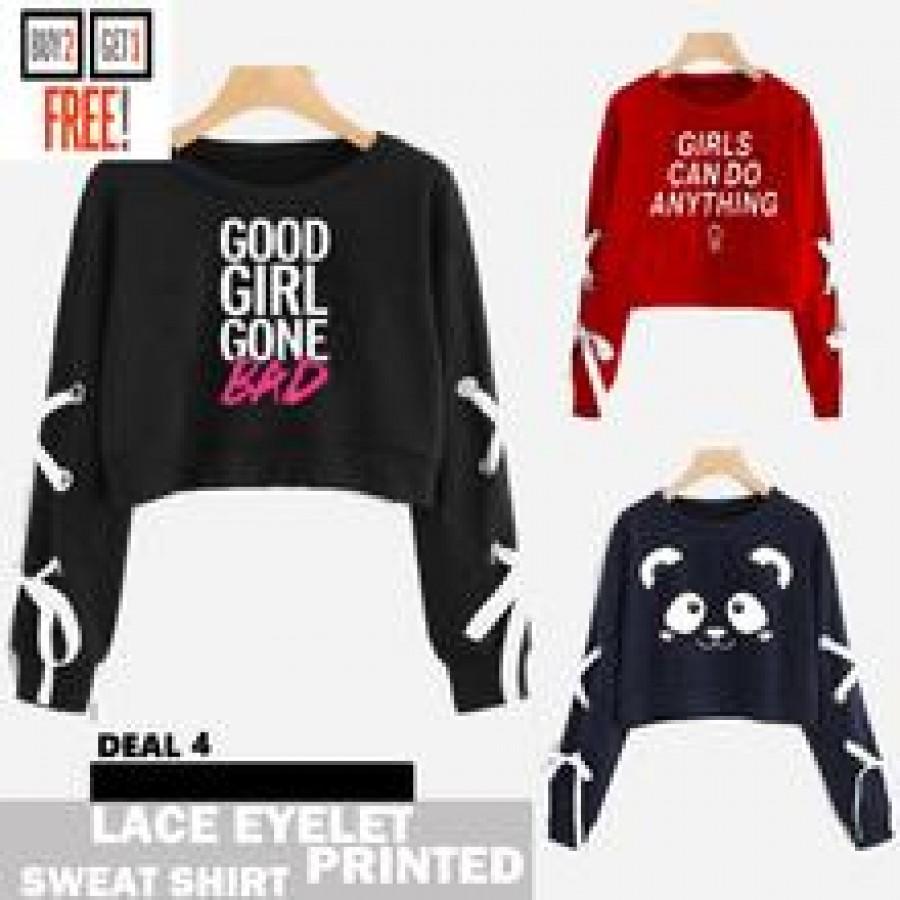 Buy 2 Get 1 Free Printed Lace Eyelet Sweat Shirts