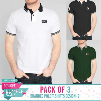 Pack of 3 ( Branded Polo T-Shirts ) Design 2 - BUMPER DISCOUNT SALE