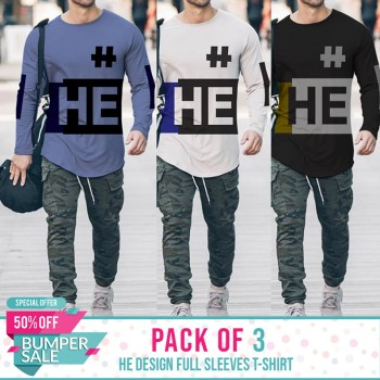 Pack Of 3 ( HE Design Full SleevesT- shirt) - BUMPER DISCOUNT SALE