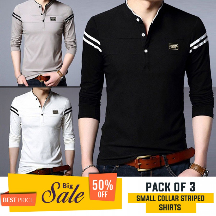 Bundle Of 3 ( Small Collar Stripe Shirts ) - BUMPER DISCOUNT SALE