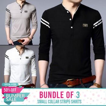 Bundle Of 3 ( Small Collar Stripe Shirts ) - Bumper Discount Sale