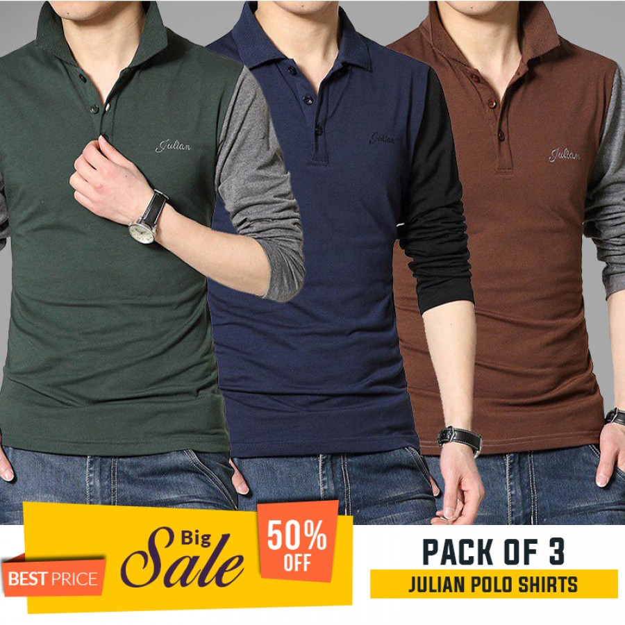 Bundle Of 3 Julian Polo Shirts -  BUMPER DISCOUNT SALE