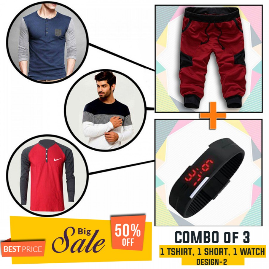 Combo of 3 ( 1 Shirt , 1 Watch , 1 Short ) - Design 2 - BUMPER DISCOUNT SALE