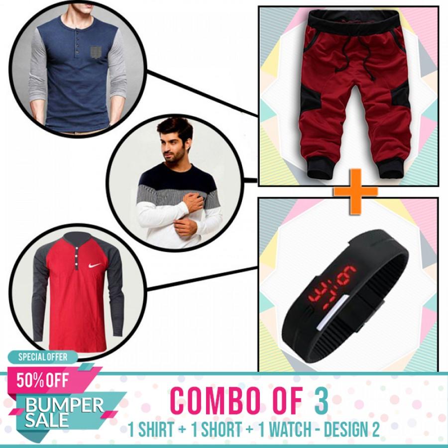 Combo of 3 ( 1 Shirt , 1 Watch , 1 Short ) - Design 2 - BUMPER DISCOUNT SALE
