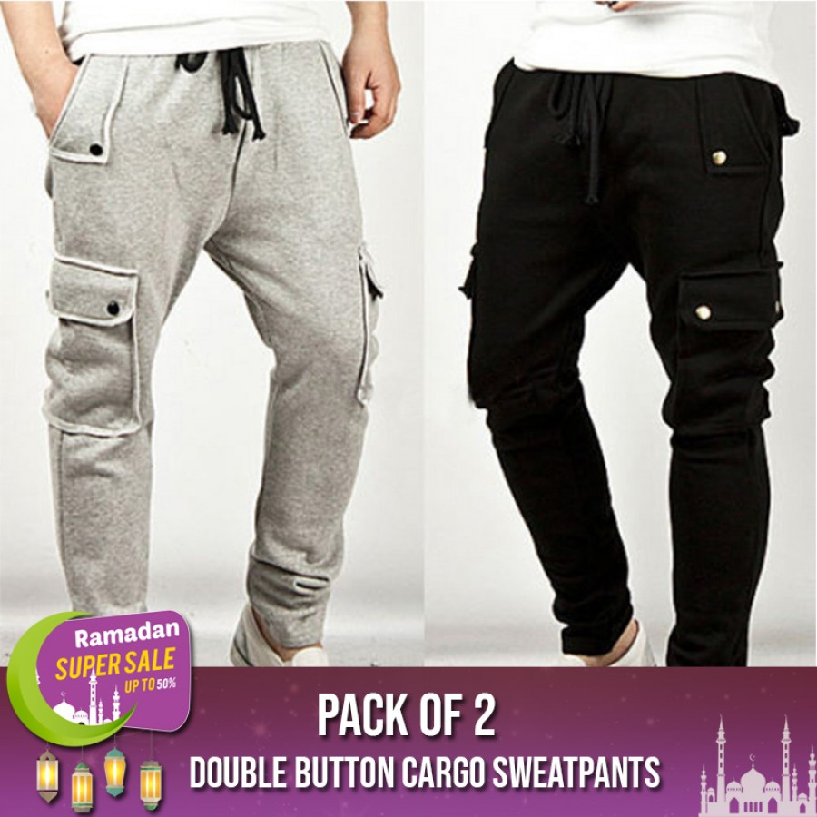 Pack of 2 Double Button Cargo Sweatpants -  RAMADAN SUPER SALE