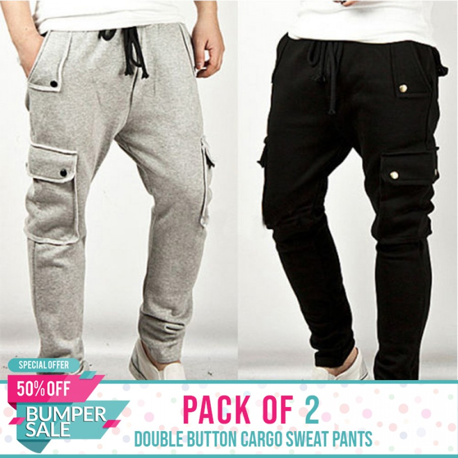 Pack of 2 Double Button Cargo Sweatpants - Bumper discount Sale