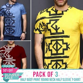 Pack of 3 Half Body Print Round Neck Half Sleeves TShirt- BUMPER DISCOUNT SALE