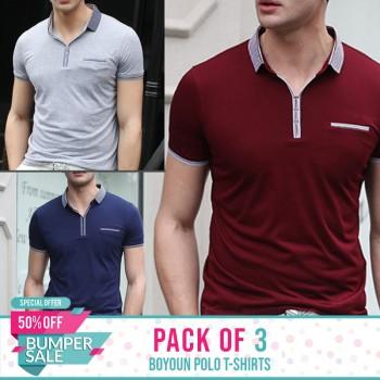 Bundle Of 3 ( Boyuan Polo T-Shirts ) - Bumper discount sale
