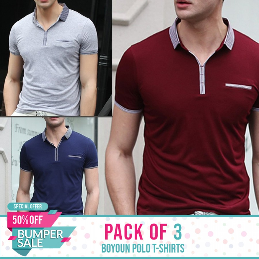 Bundle Of 3 ( Boyuan Polo T-Shirts ) - Bumper discount sale