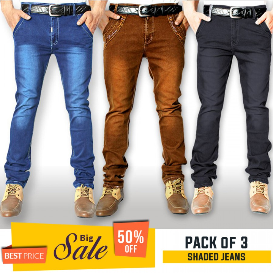 Pack of 3 Stretchable Shaded Denim Jeans - BUMPER DISCOUNT SALE