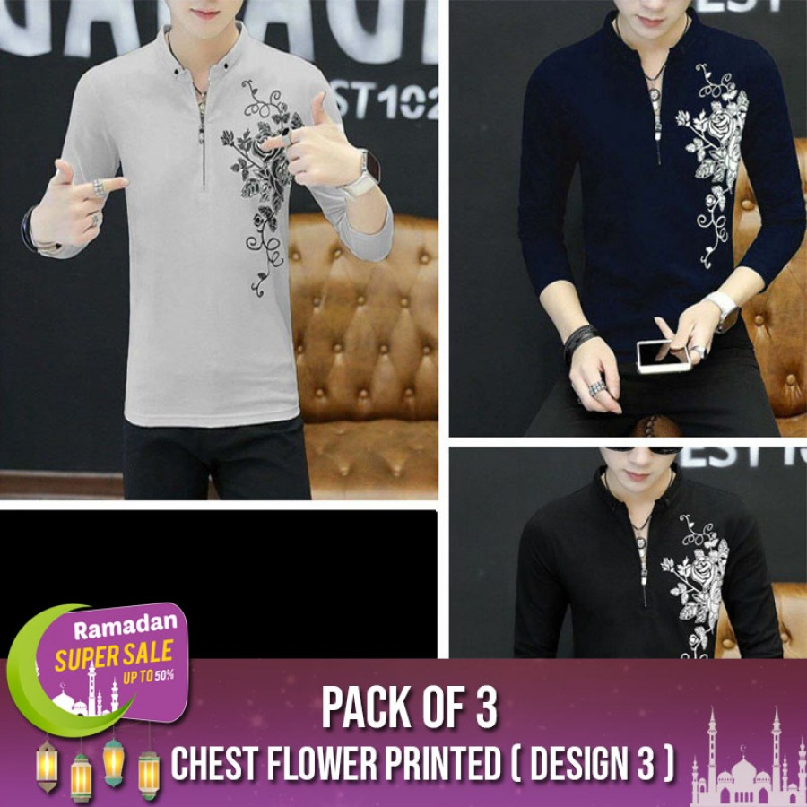Chest Flower Printed ( Design 3 ) -RAMADAN SUPER SALE