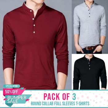 Pack of 3 Round Collar Full Sleeves T-shirts - BUMPER DISCOUNT SALE