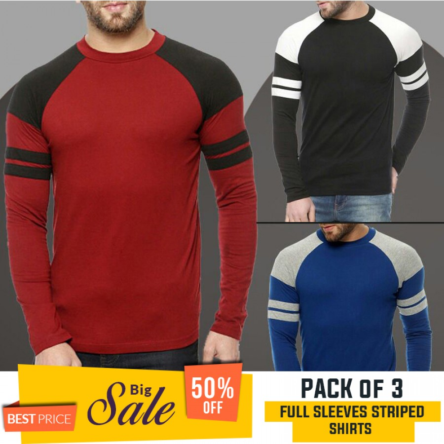 Bundle Of 3 Full Sleeves Striped T-Shirt - BUMPER DISCOUNT SALE