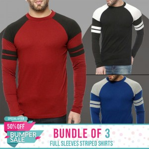 Bundle Of 3 Full Sleeves Striped T-Shirt -Bumper Discount Sale