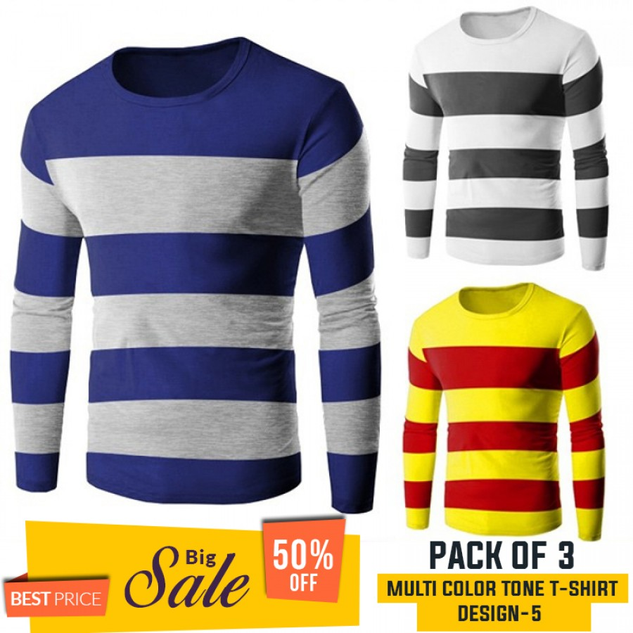 Pack Of 3 ( Multi Color Tone T-Shirts)) - BUMPER DISCOUNT SALE