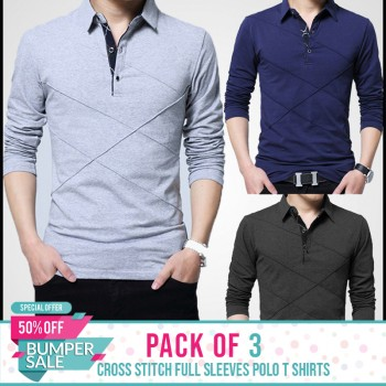Pack of 3 Cross Stitch Full sleeves Polo T Shirts-Bumper Discount Sale