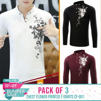 Pack of 3 Chest Flower Printed T-shirts CF-001-Bumper Discount Sale