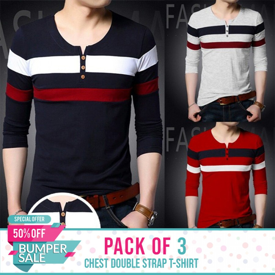 PACK OF 3 Chest double strap t-shirt-Bumper Discount Sale