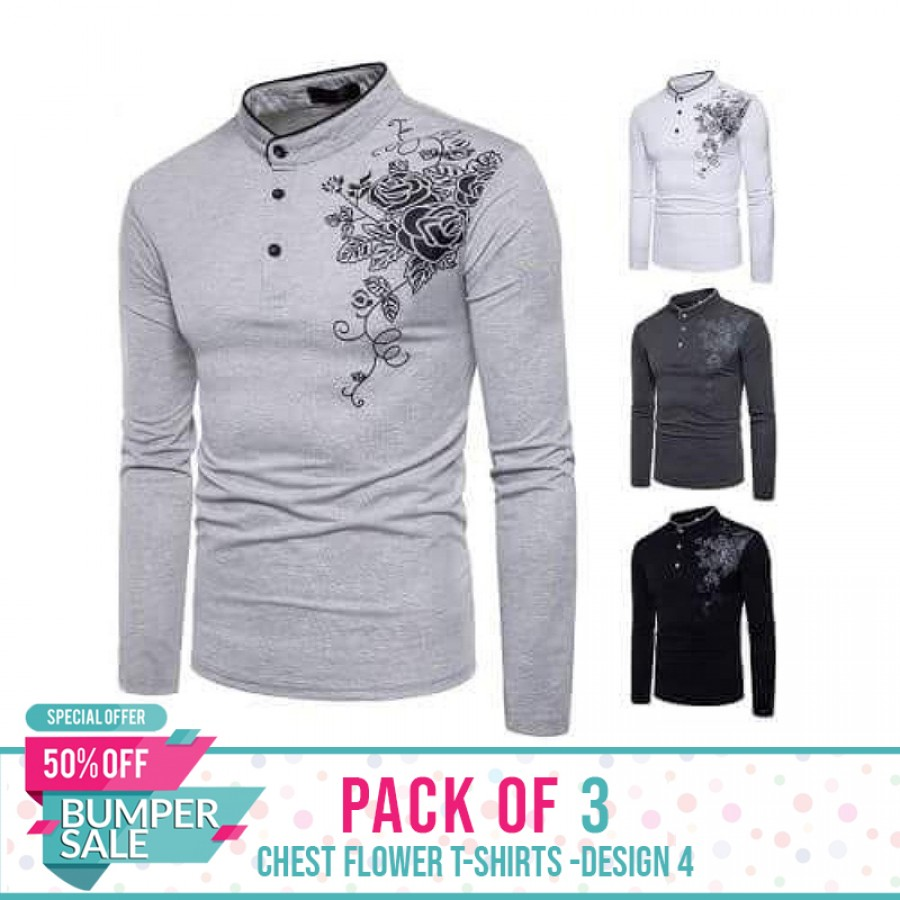 Pack of 3 Chest flower T-Shirts -Design 4- Bumper Discount Sale
