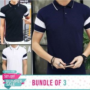 Bundle of 3 Stripe Sleeves Polo T-Shirts-Bumper Discount Sale