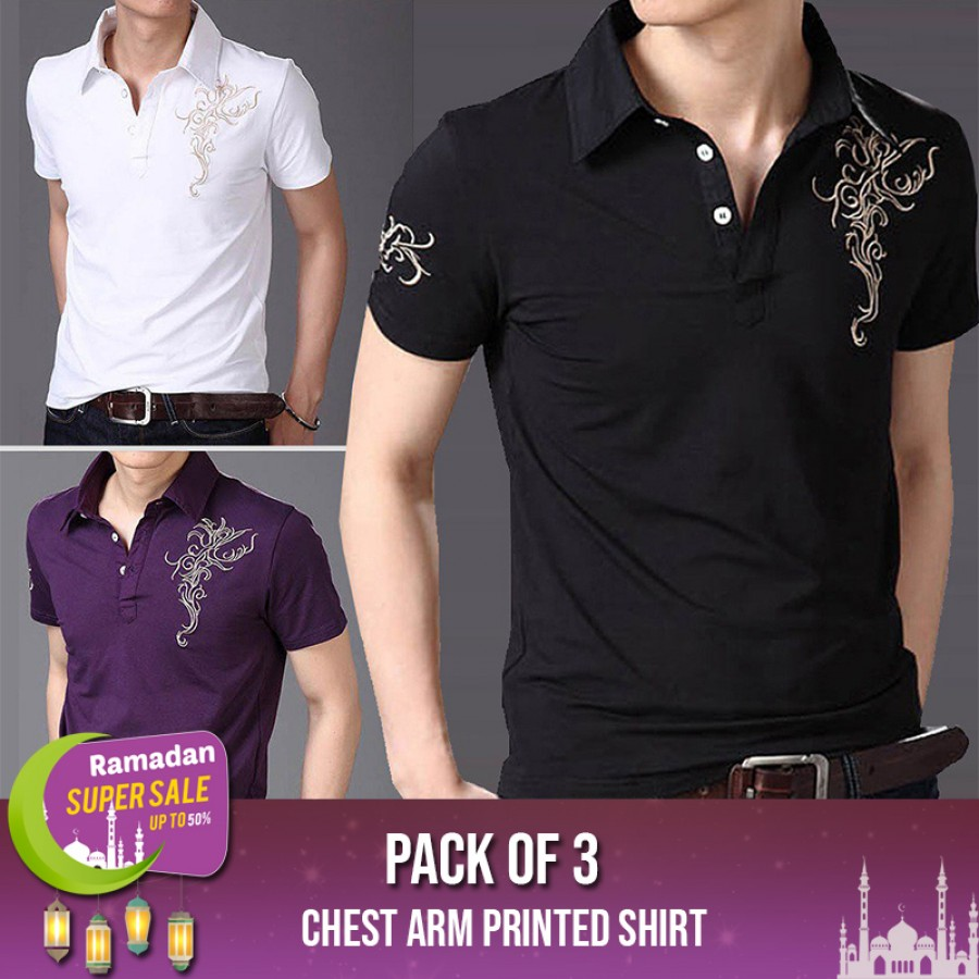 Bundle of 3 Chest Arm Printed Shirt-RAMADAN SUPER SALE