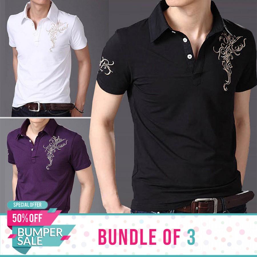 Bundle of 3 Chest Arm Printed Shirt-  Bumper Discount Sale