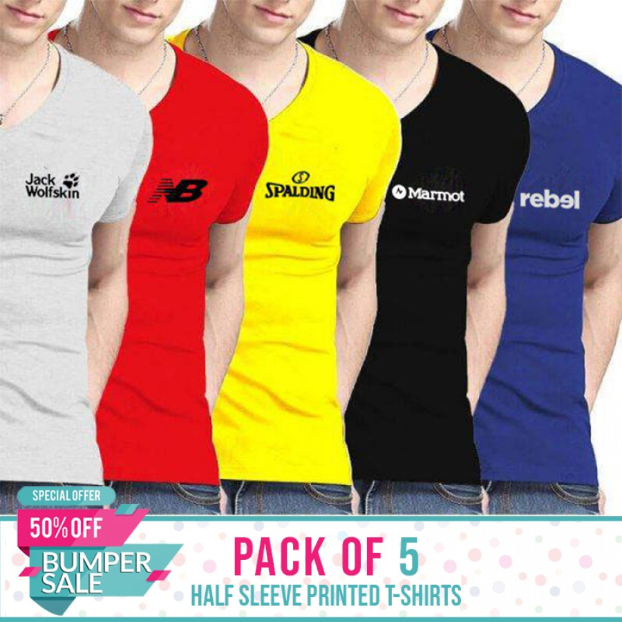 Pack of 5 Half Slevees Printed T-Shirts- Bumper Discount Sale