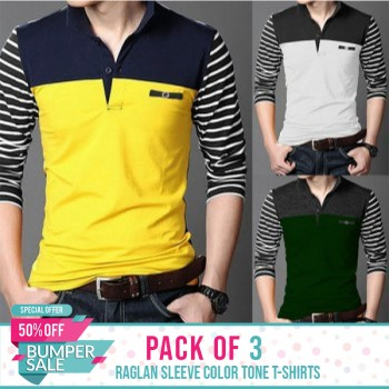 Pack of 3 Raglan Sleeve Color Tone T-shirts-Bumper discount sale