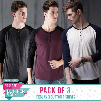 Pack of 3 Reglan 3 Button T-Shirt - Bumper discount sale