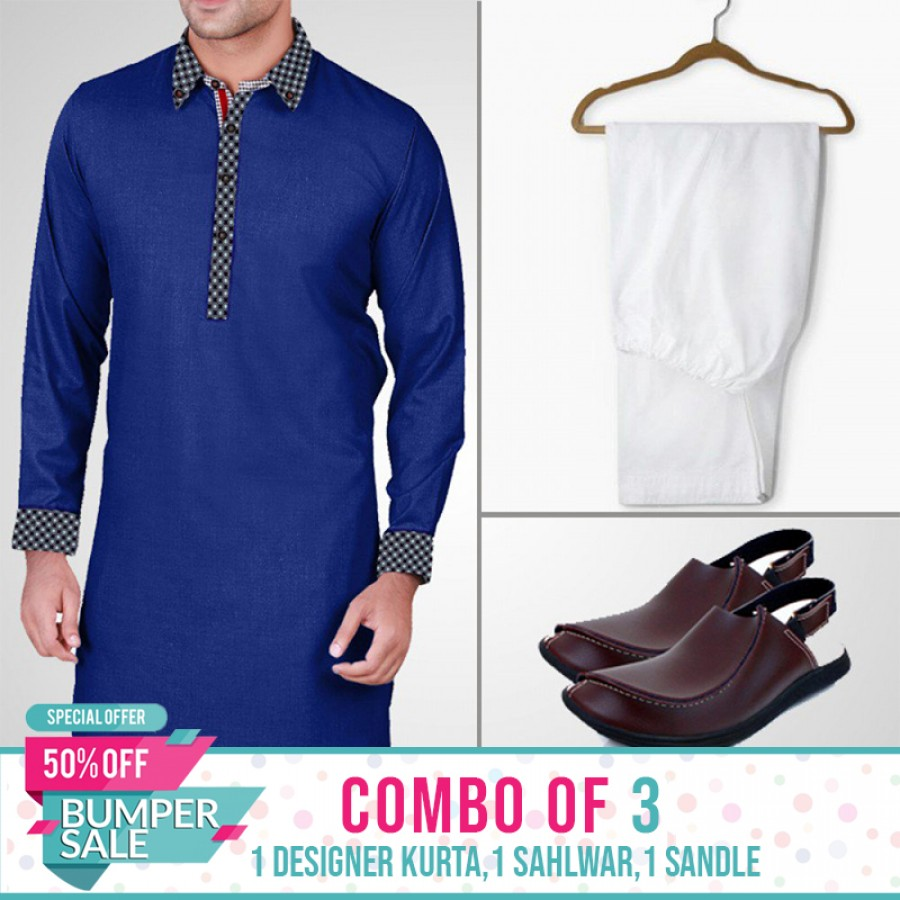 1 KURTA + 1 SHALWAR + SANDALS (Design-3) - Bumper Discount Sale