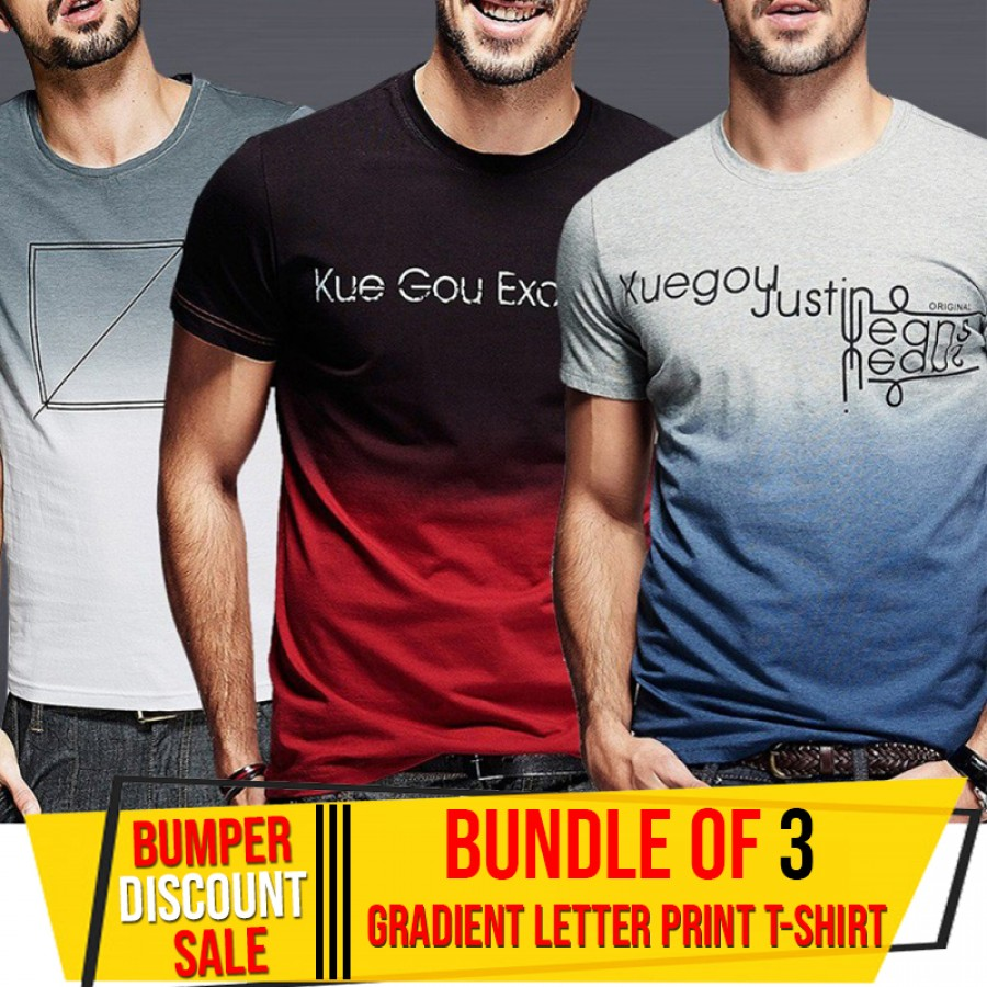 Bundle Of 3 ( Gradient Letter Print T-Shirts)-BUMPER DISCOUNT SALE