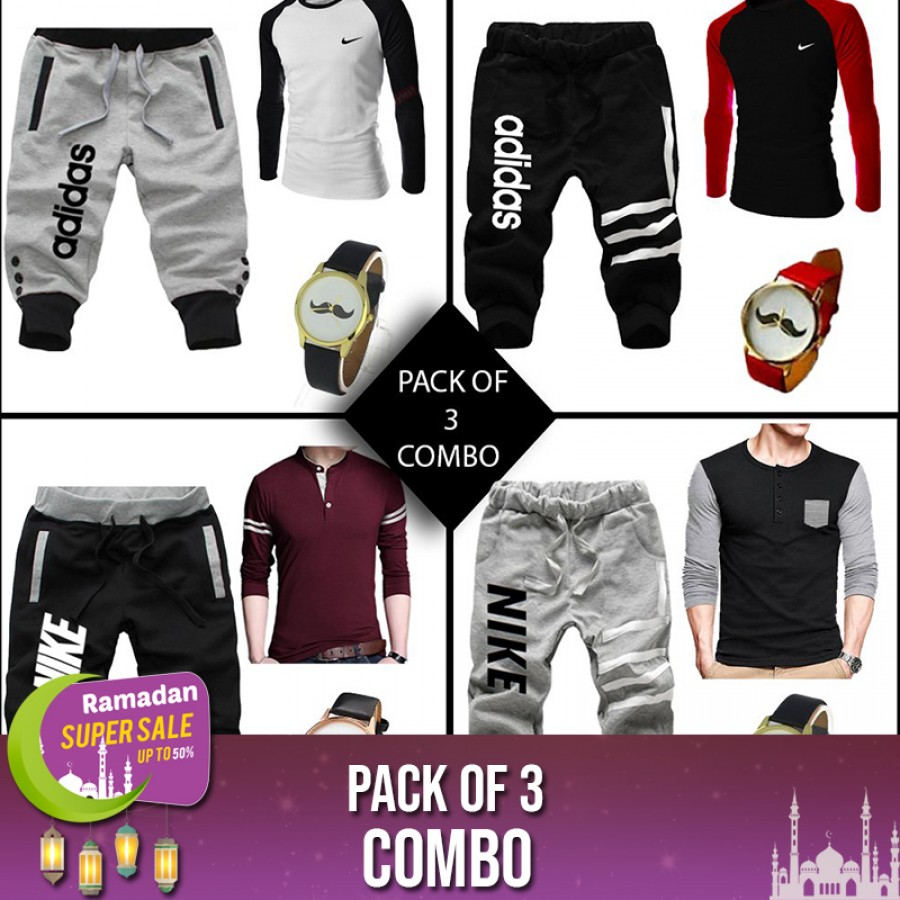 Combo of 3 ( 1 Shirt , 1 Watch , 1 AN Short ) RAMADAN SUPER SALE