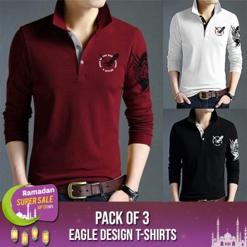 Pack of 3 Eagle Design T-shirts-RAMADAN SUPER SALE